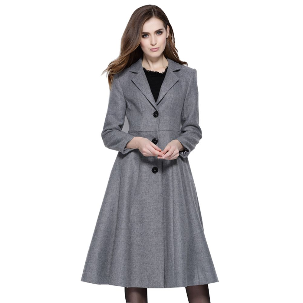 Weartime Women's Wool & Blends Long Sleeves Skirt Winter Coat Made of 65% Nylon /35% Cotton, womens autumn & winter fashion This wool-blend coat featuring convertible collar, skirt style Slim fit cutting,never out of date. Warm and confortable material and suitable for daily casual, winter ,spring,autumn. It is easy for pairing with everything from dresses and skirts to leggings etc.