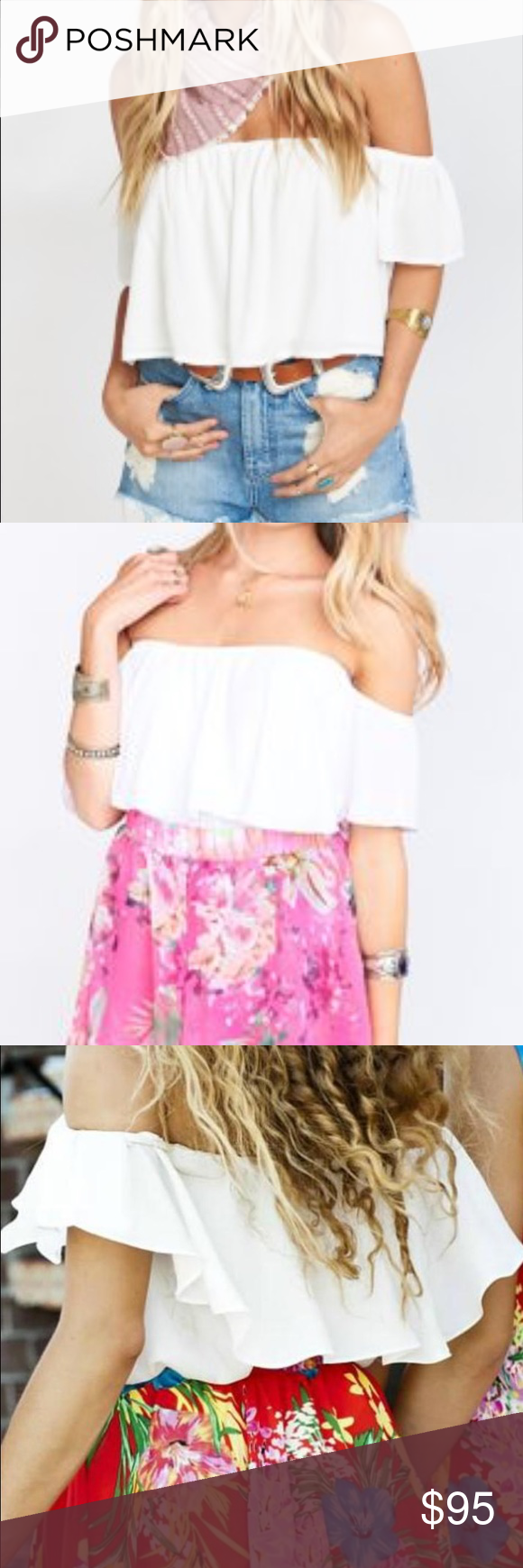 Show me your mumu white top. New with tags. Show me your mumu white ruffle crop top. New with tags! Show Me Your MuMu Tops Crop Tops
