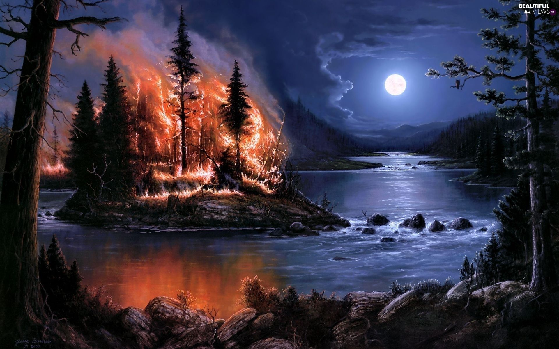 Big Fire River Night Moon Forest Beautiful Views Wallpapers Fire Painting Night Painting Island Art