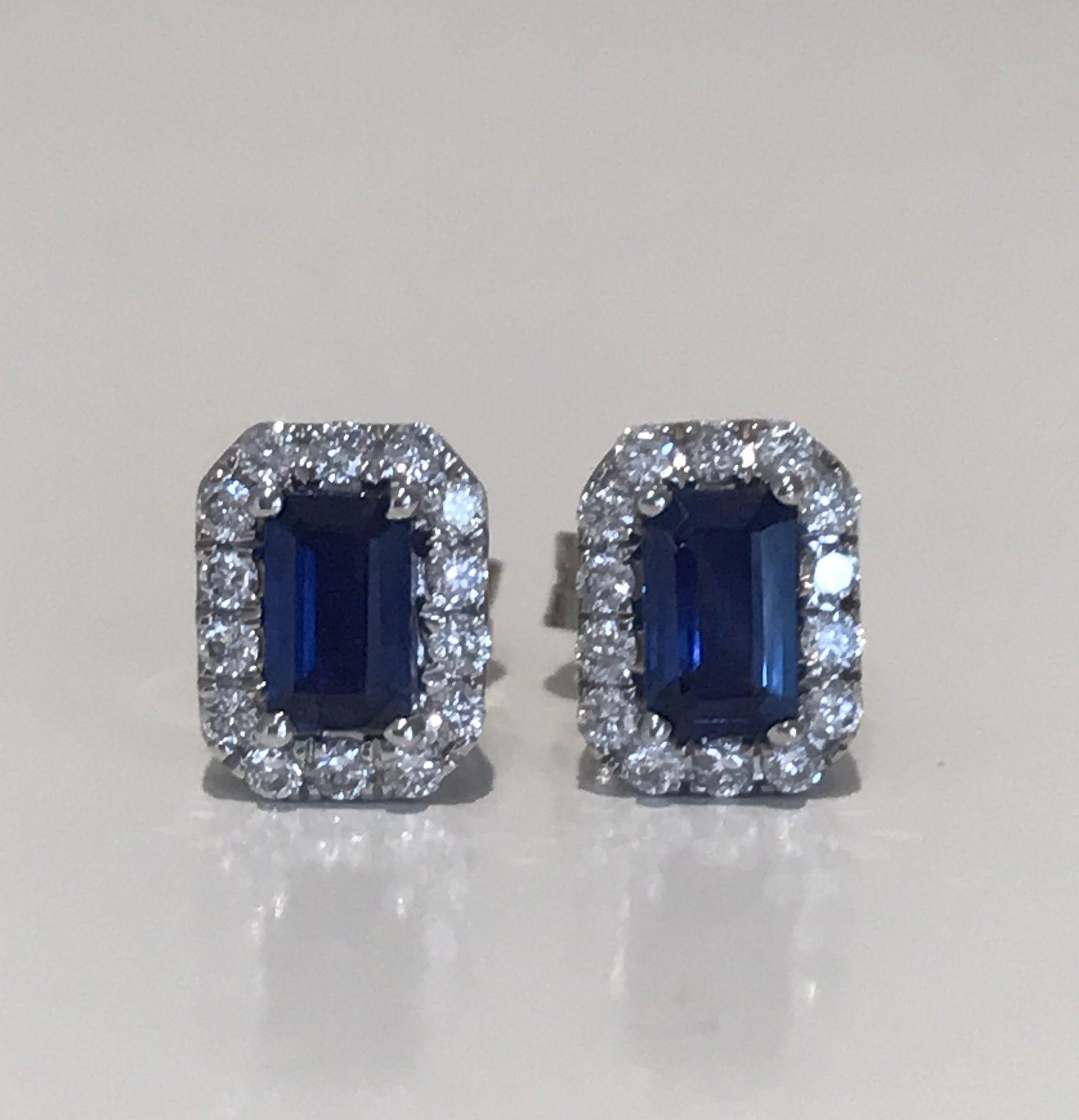 Sapphire & Diamond Earrings 18k £380 Sapphires