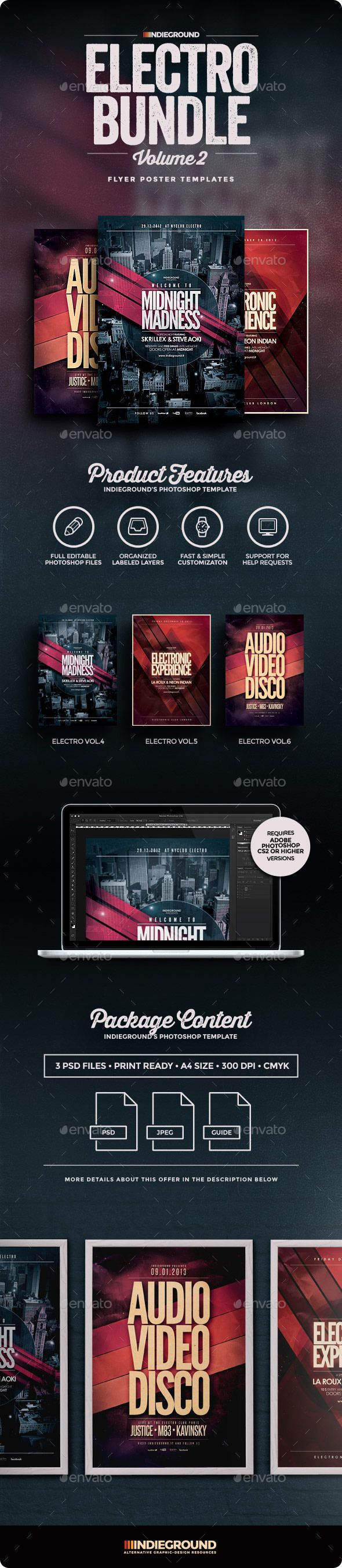 Electro FlyerPoster Bundle Vol   Electro Music