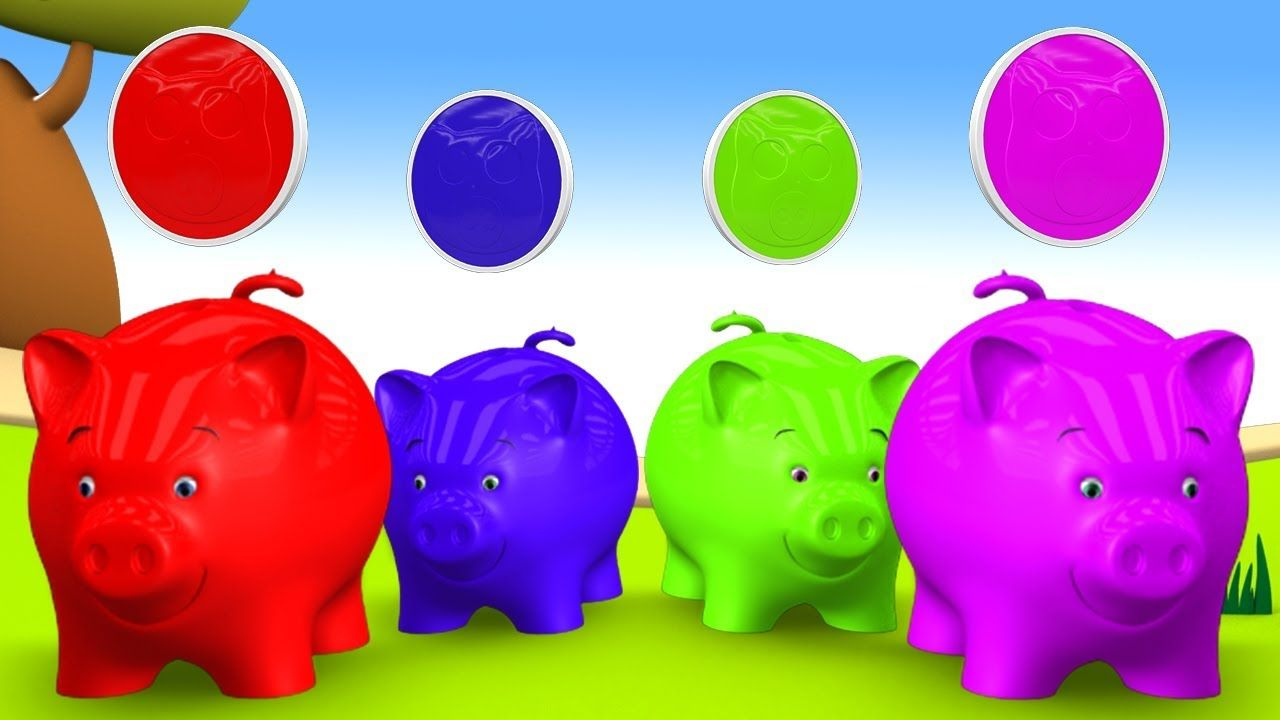 Learning Colors for Children with Baby Pig Color Coins in Piggy Bank ...
