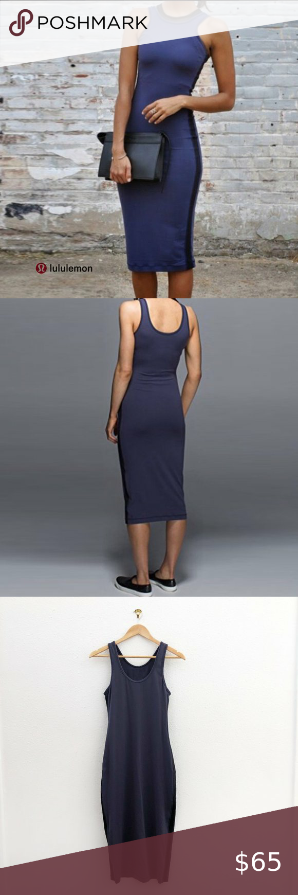 Lululemon Lab Noir Racerback Bodycon Dress Product Sweat Wicking Breathable And Four Way Stretch Perfect Layer Clothes Design Bodycon Dress Athletica Dress [ 1740 x 580 Pixel ]