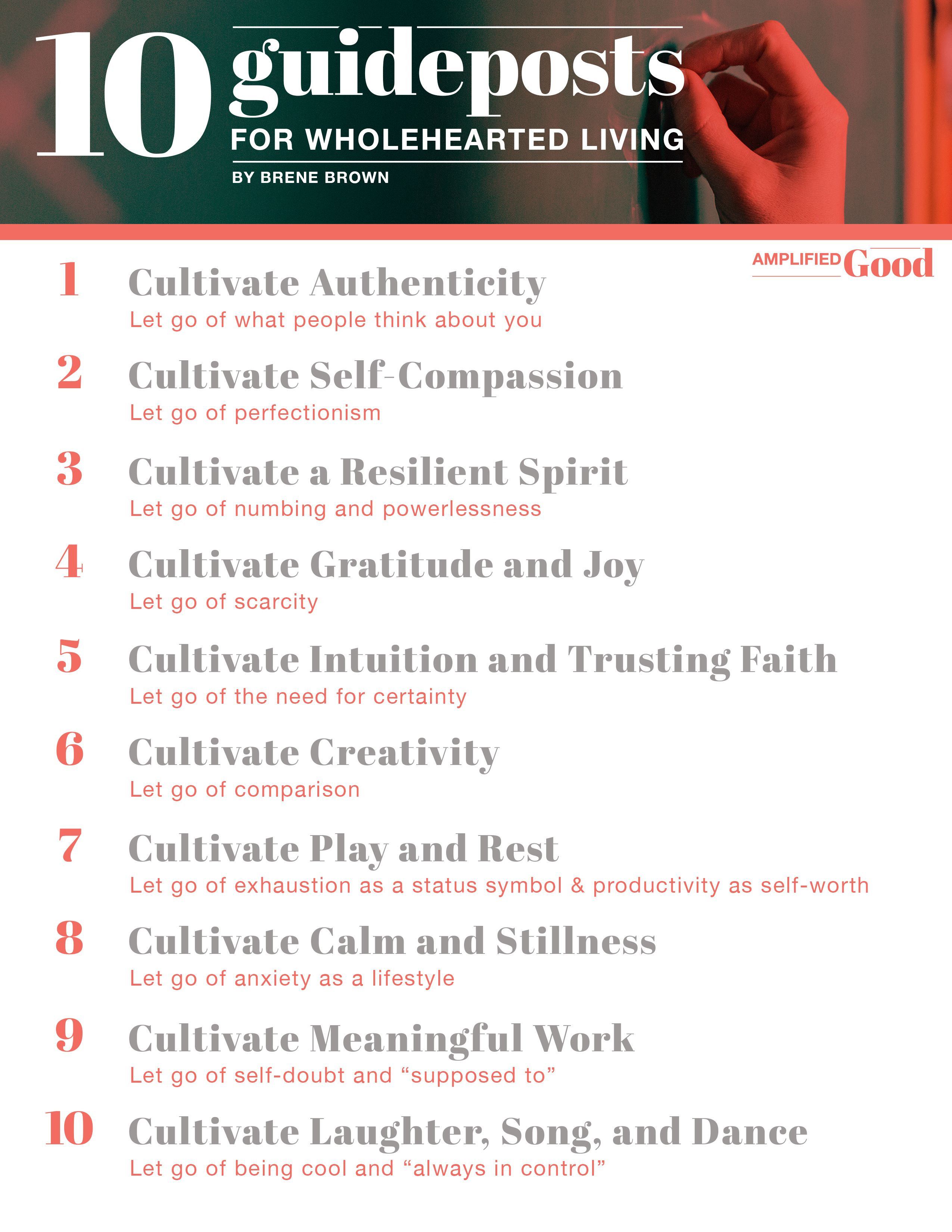 10 Guideposts For Wholehearted Living Worksheet