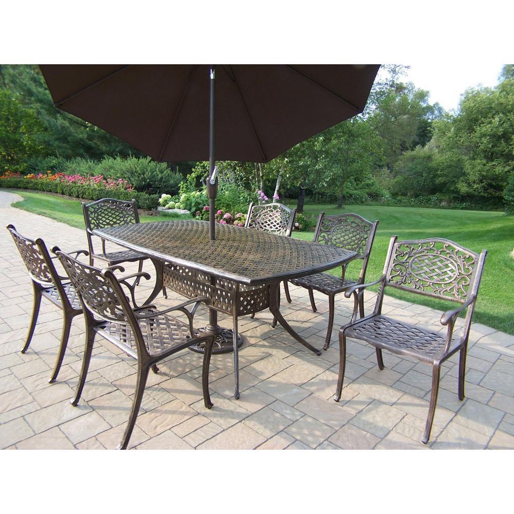 9 Piece Antique Bronze Aluminum Outdoor Dining Set And Brown Umbrella Hd2301 2012 4005 Bn 4101 9 Ab Outdoor Dining Set Patio Patio Furniture Sets