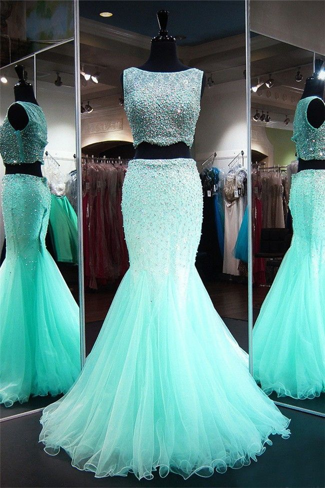 bd8586145439 Mermaid Sleeveless Two Piece Mint Green Tulle Beaded Prom Dress in ...
