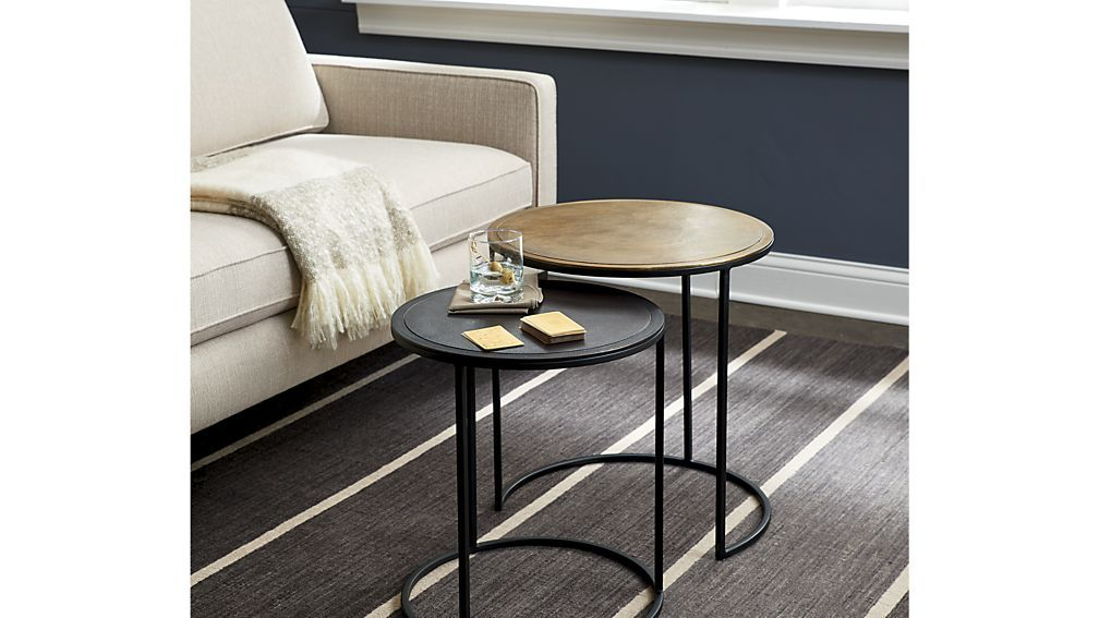 Knurl Nesting Accent Tables Set Of Two Reviews Crate And Barrel Small Accent Tables Nesting Accent Tables Living Room Accent Tables Set of two end tables