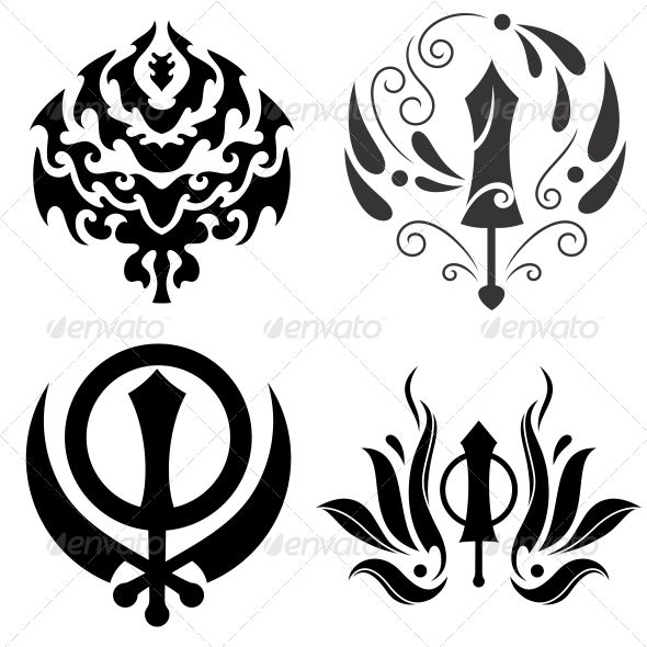 Tattoo Designs Khanda: Tribal Sikhism Sign Khanda Sahib