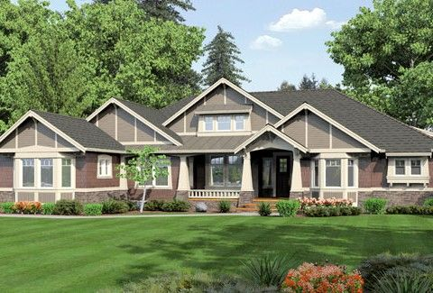Gallery For One Story Exterior House Designs Craftsman House