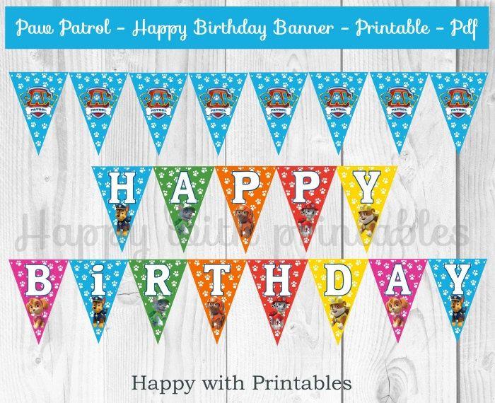 Paw Patrol Happy Birthday Banner