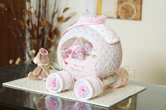 Cinderella Princess Carriage Diaper Cake Baby Shower Diaper Cake