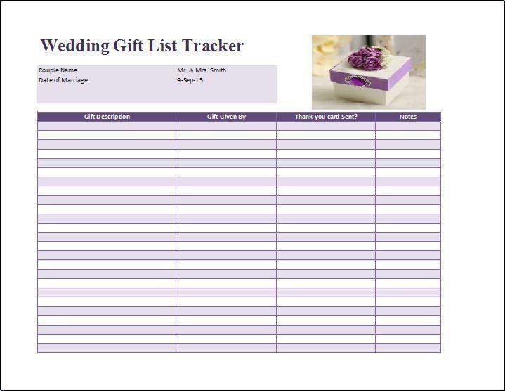 Wedding Gift List Template Free Formal Word Templates Wedding Gift List List Template Wedding Gifts