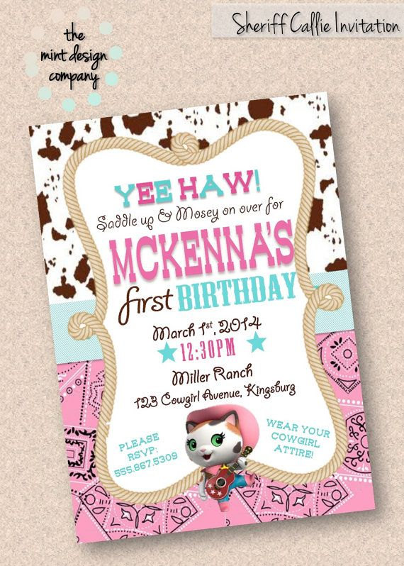Sheriff Callie Birthday Party Invitation Digital Design Sheriff