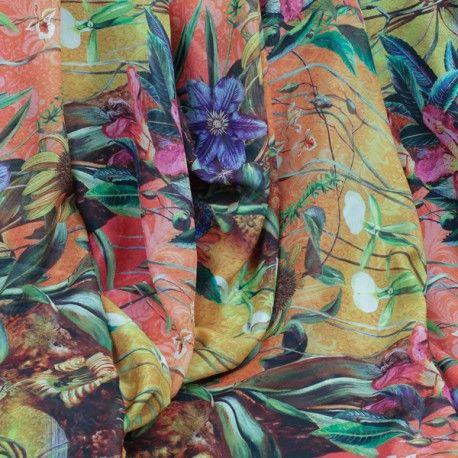 tissu mousseline de soie imprim motif plante sauvage en coupon de 3 m tres tissus pinterest. Black Bedroom Furniture Sets. Home Design Ideas