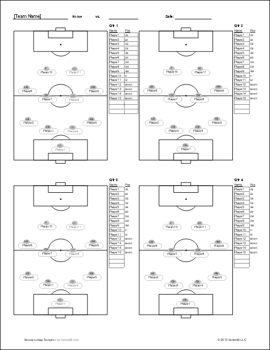 Soccer Player Set Up Sheets