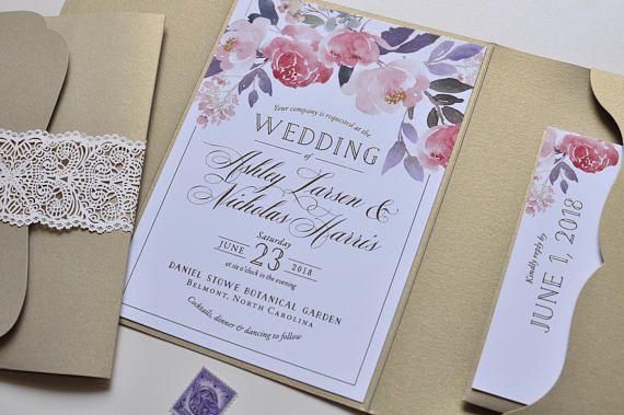 Foil Wedding Invitation, Pocketfold Wedding Invitation, Gold Foil