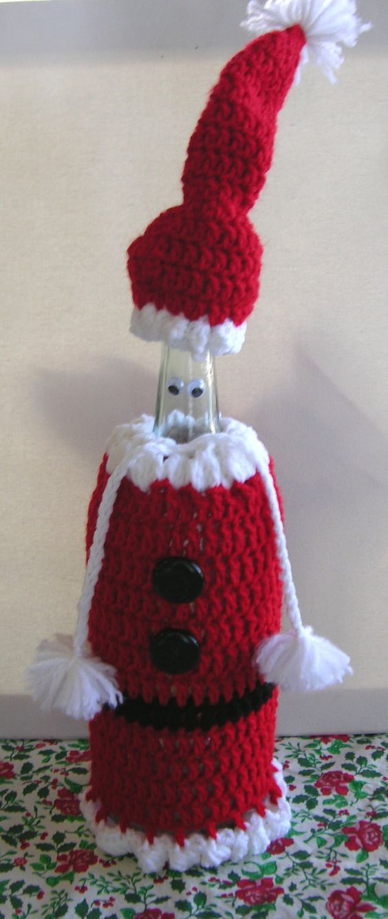 Santa Cover Cozy Wine Bottle Crochet Pattern By Reciprocitycrafts