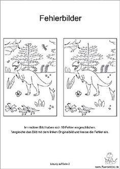 fehlersuchbild für kinder dinosaurier | dinosaurier, kinder dinosaurier, fehlersuchbild