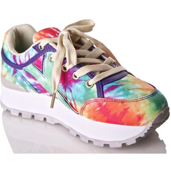 8310dc9e97b8 Y.R.U. Tune Rainbow Tie Dye Sneakers ( 98) ❤ liked on Polyvore featuring  shoes