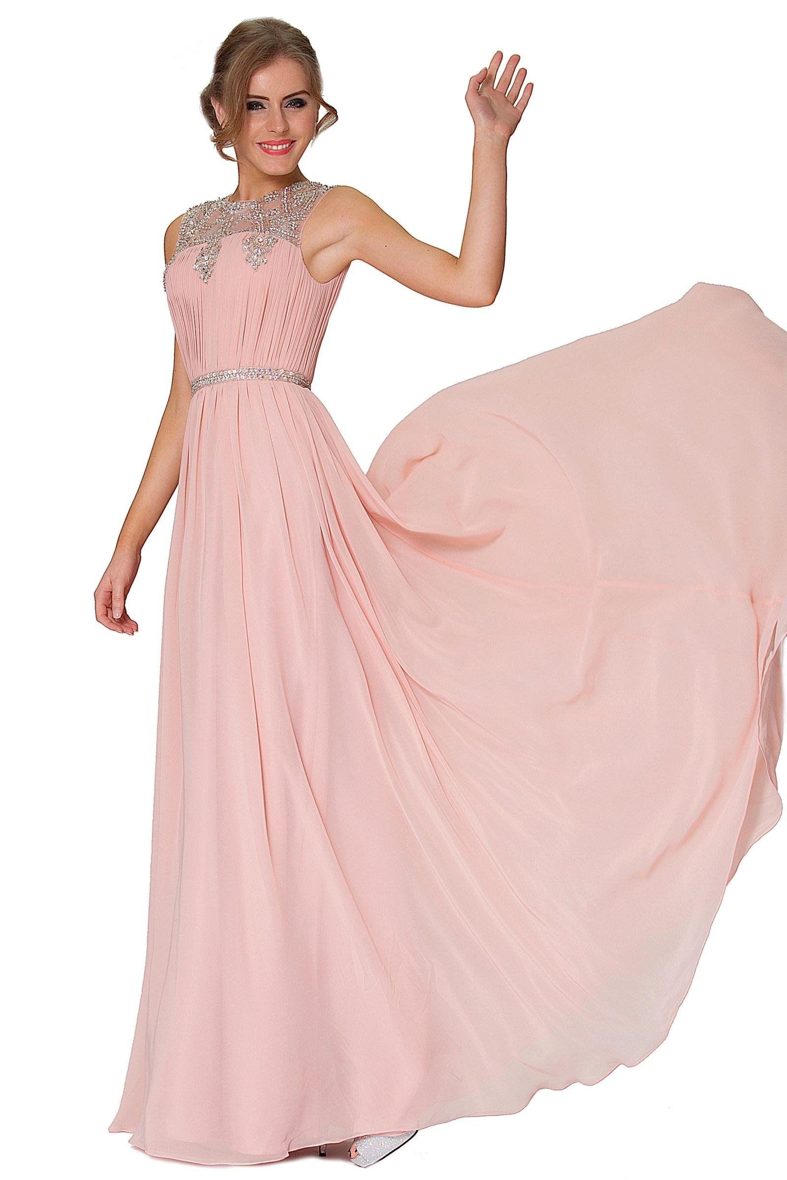 SEXYHER Blushpink Encanto Crystal detalla largo vestido de dama de noche - EDYP8011