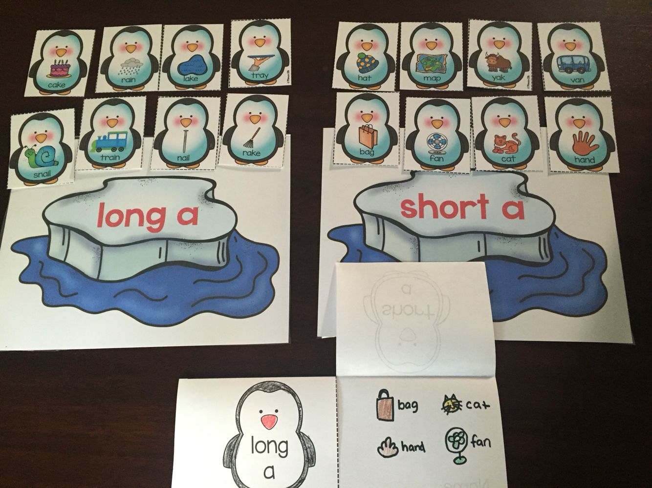 Long And Short Vowel Sort Penguin Theme