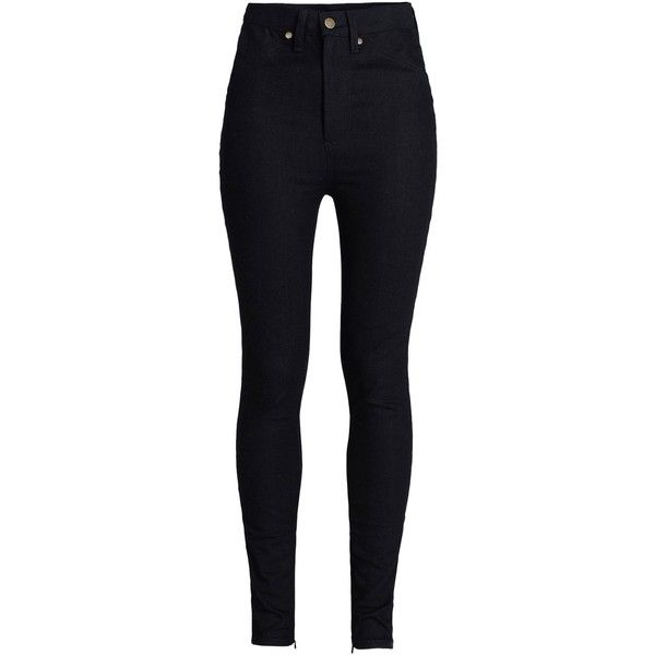 Rodarte High-Waisted Black Jeans (3.190 ARS) ❤ liked on Polyvore featuring jeans, pants, bottoms, pantalones, black, skinny jeans, black skinny jeans, black skinny leg jeans, black denim skinny jeans and high rise jeans