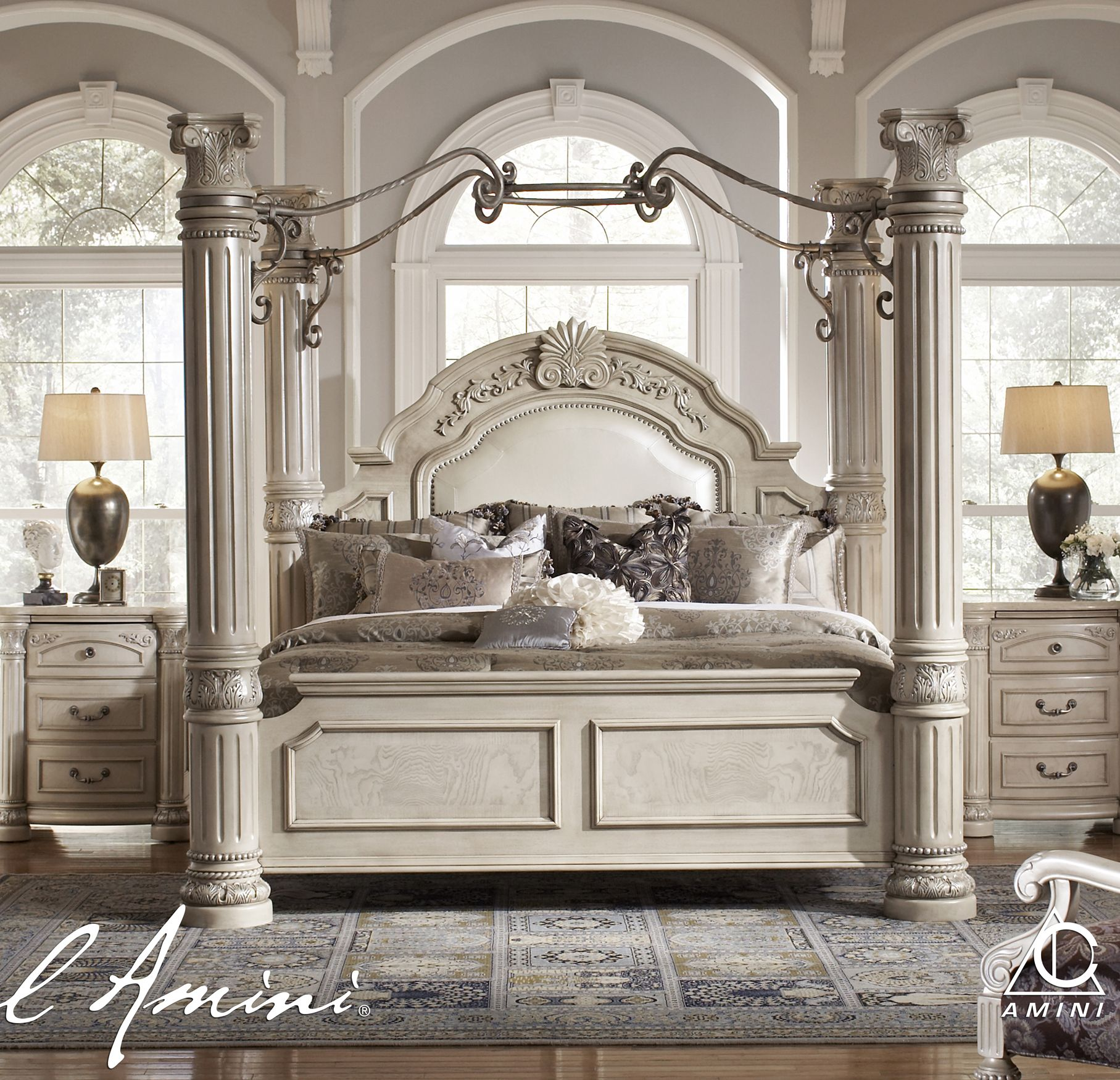AICO Monte Carlo II King Size Poster Bed With Canopy In Silver - Aico torino bedroom set