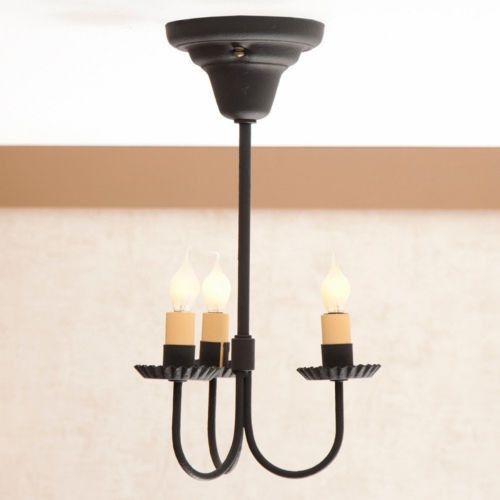 WROUGHT IRON CEILING LIGHT Handcrafted Simple   Elegant 3 Arm Hanging Colonial  Fixture in Textured BlackWROUGHT IRON CEILING LIGHT Handcrafted Simple   Elegant 3 Arm  . Primitive Colonial Light Fixtures. Home Design Ideas