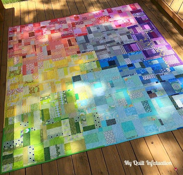 I Put The Last Stitch In The Binding Of My Rainbow Quilt