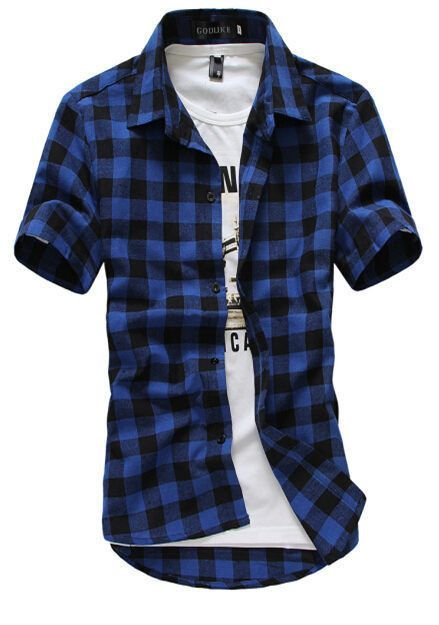 81ccc9c58be Red And Black Plaid Shirt Men Shirts New Summer Fashion Chemise Homme Mens  Checkered Shirts Short
