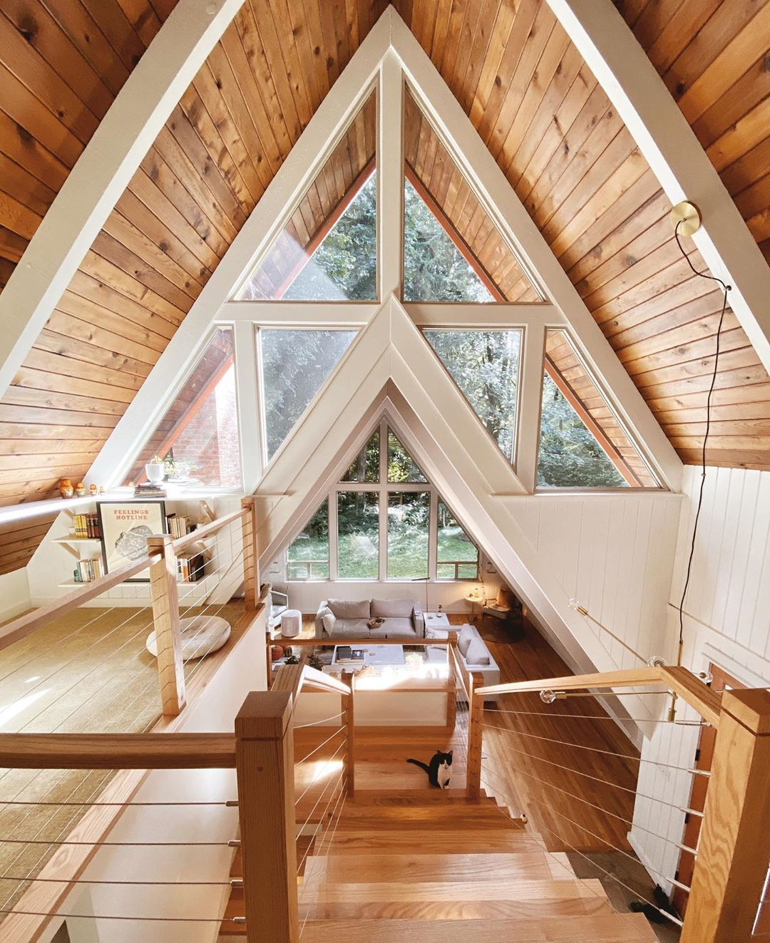 The Kindly Cabin On Instagram Good Morning Everyone It S Not This Sunny At The Cabin Today But It Was A Few Triangle House Cabin House Plans A Frame House