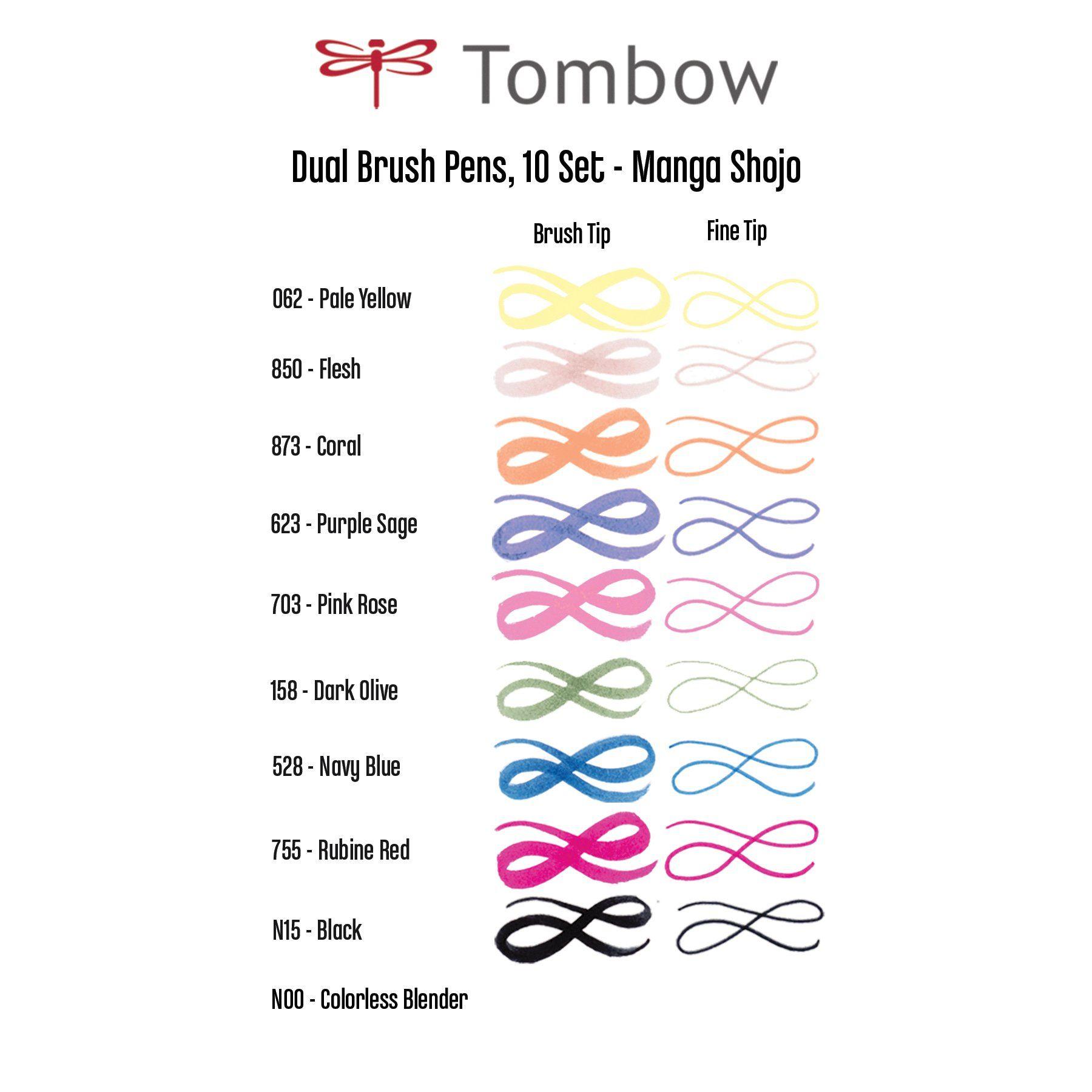 Manga Shojo Set of 10 Tombow ABT Dual Brush Pen