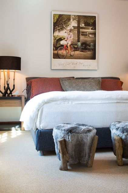 Rustic Bedroom by Grace Home Design, Inc. LOVE the giant polaroid ...