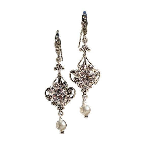 Bridal Simulated Swarovski Pearl and Flower by HisJewelsCreations