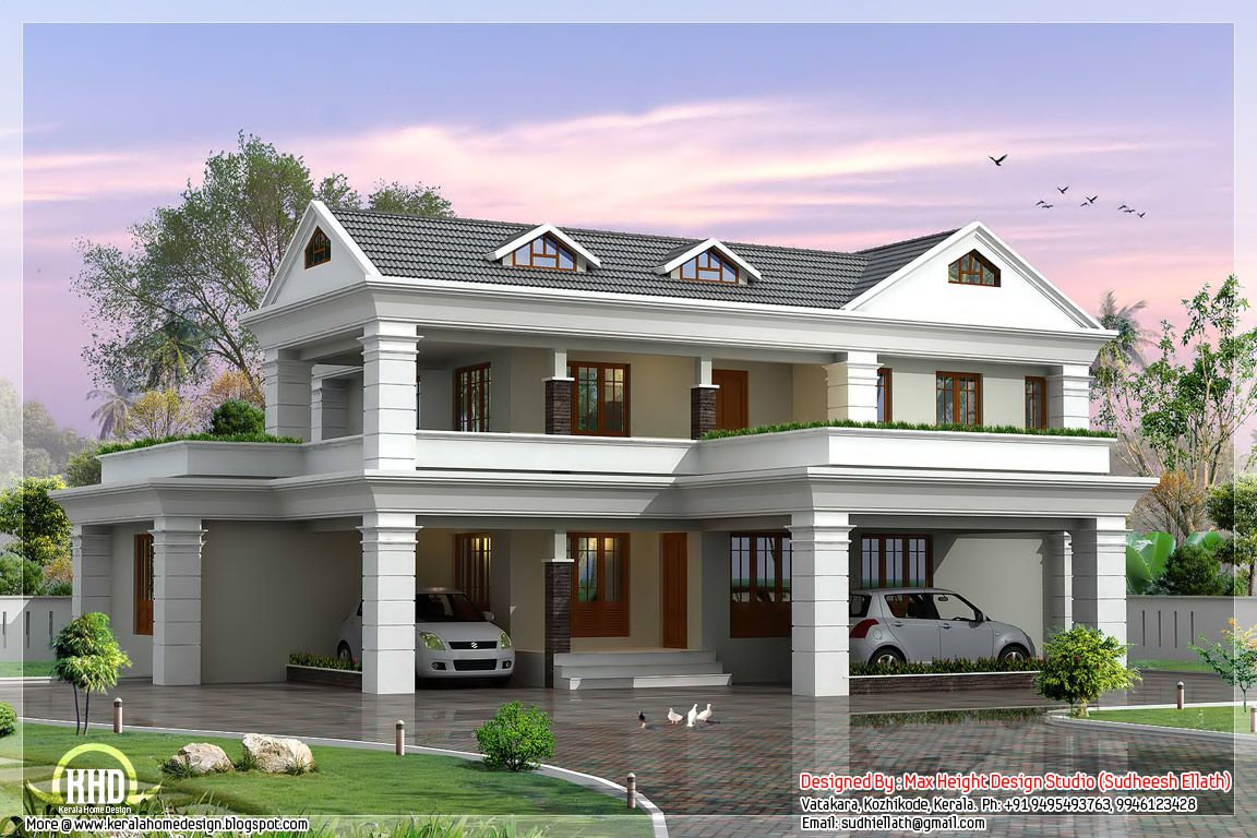 Slope House Plans Simple 5 Sloping Roof Home Plan Kerala Home Design Architecture House Home Contemporary Home Designs In 2019 Kerala House Design Beautiful House Plans Home Design Floor Plans