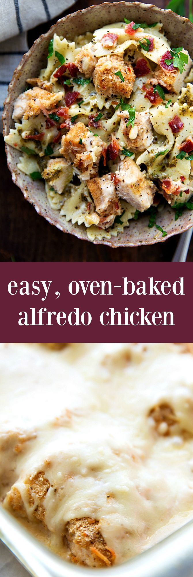 Super simple oven baked alfredo chicken with bacon and an optional pesto pasta to serve with it!
