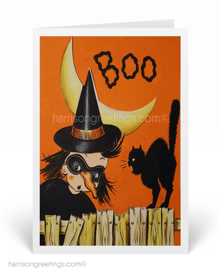 Vintage 1950s Witch Halloween Cards Retro Black Cat Printed