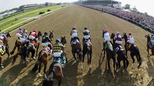 A panoramic view of the starting gate.