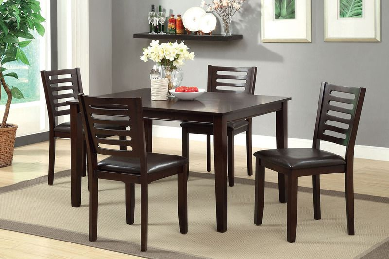 5 Pc Espresso Wood Dining Set Table Ladder Back Chairs Leather