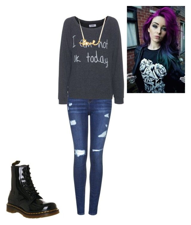 """""""ГГГГГ¬¬¬¬¬"""" by andrea1211cookie ❤ liked on Polyvore featuring Dr. Martens, Topshop, LAUREN MOSHI and Minnie Grace"""