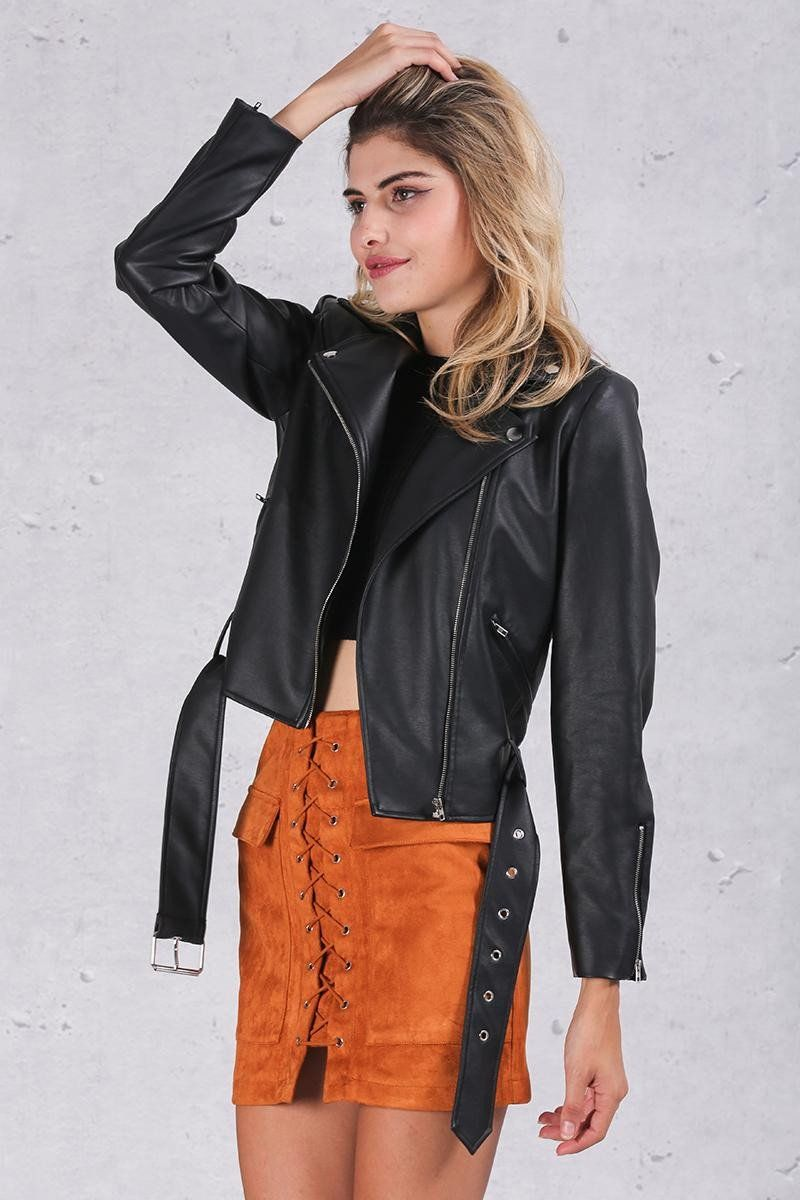 PU Leather Coat Classic Basic Black Adjustable Waist