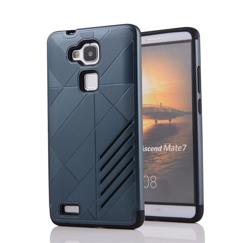 DCSh Stripe Anti-skid Armor Phone Case For Huawei Mate 7 Case Silicone Hybrid Shockproof Back Cover For Huawei Mate7 Shell
