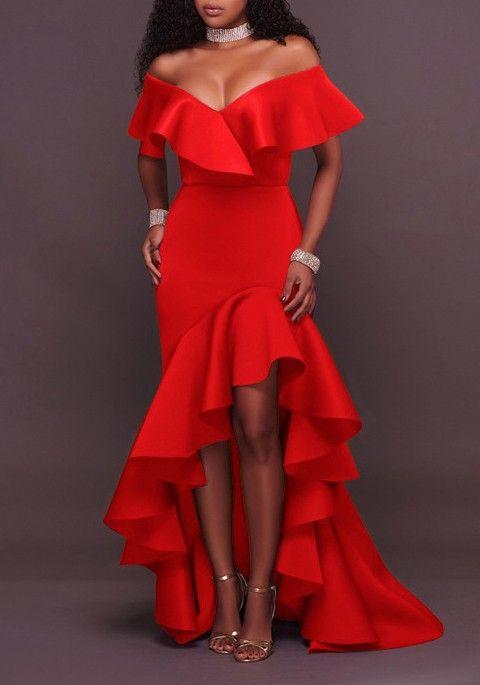 6db824f686a Red Ruffle Irregular High-Low Off Shoulder Backless Mermaid Elegant Party  Maxi Dress