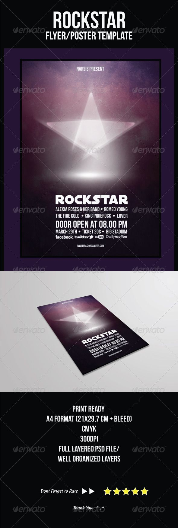 Rock Star Flyer Template | Flyer template, Template and Rock