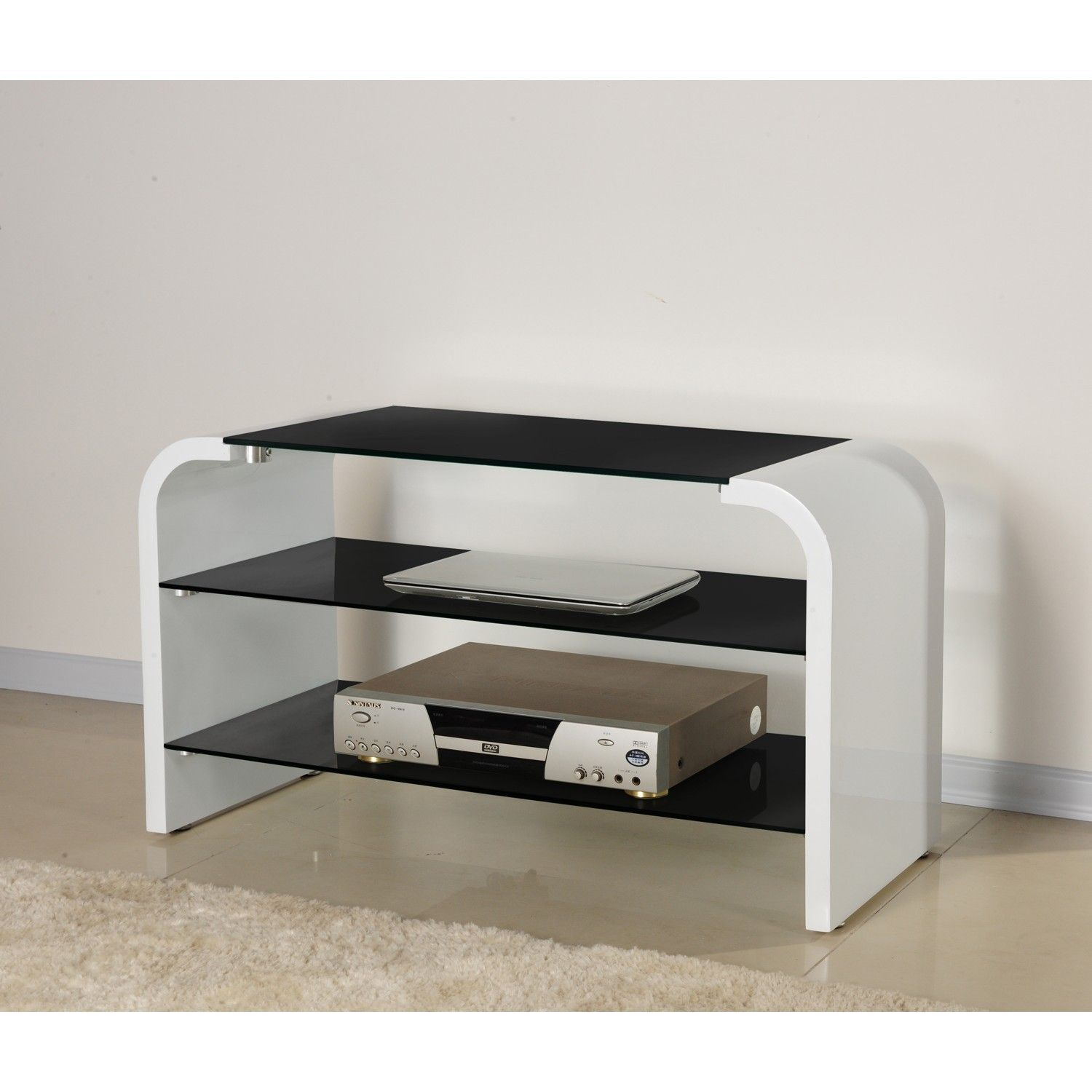Bretton Black And White Tv Stand With Gl Shelves