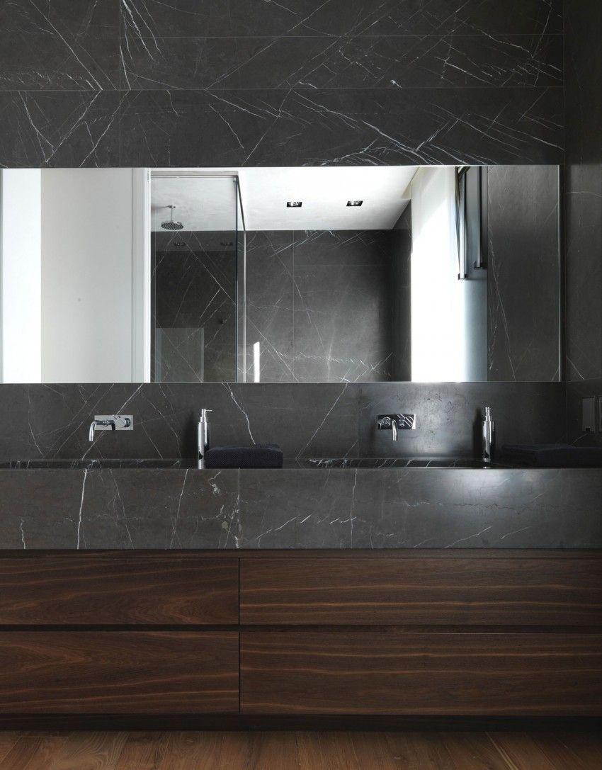 Br House By Marco Costanzi Architetti Black Marble Bathroom Architecture Bathroom Wood Bathroom