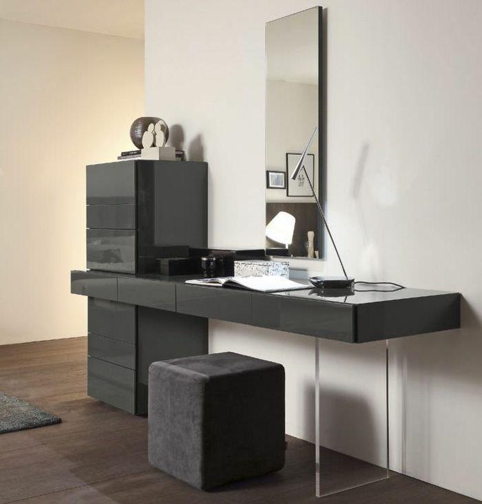 Schminktisch Mit Spiegel An Der Wand Schwarze Farbe Polster Sessel