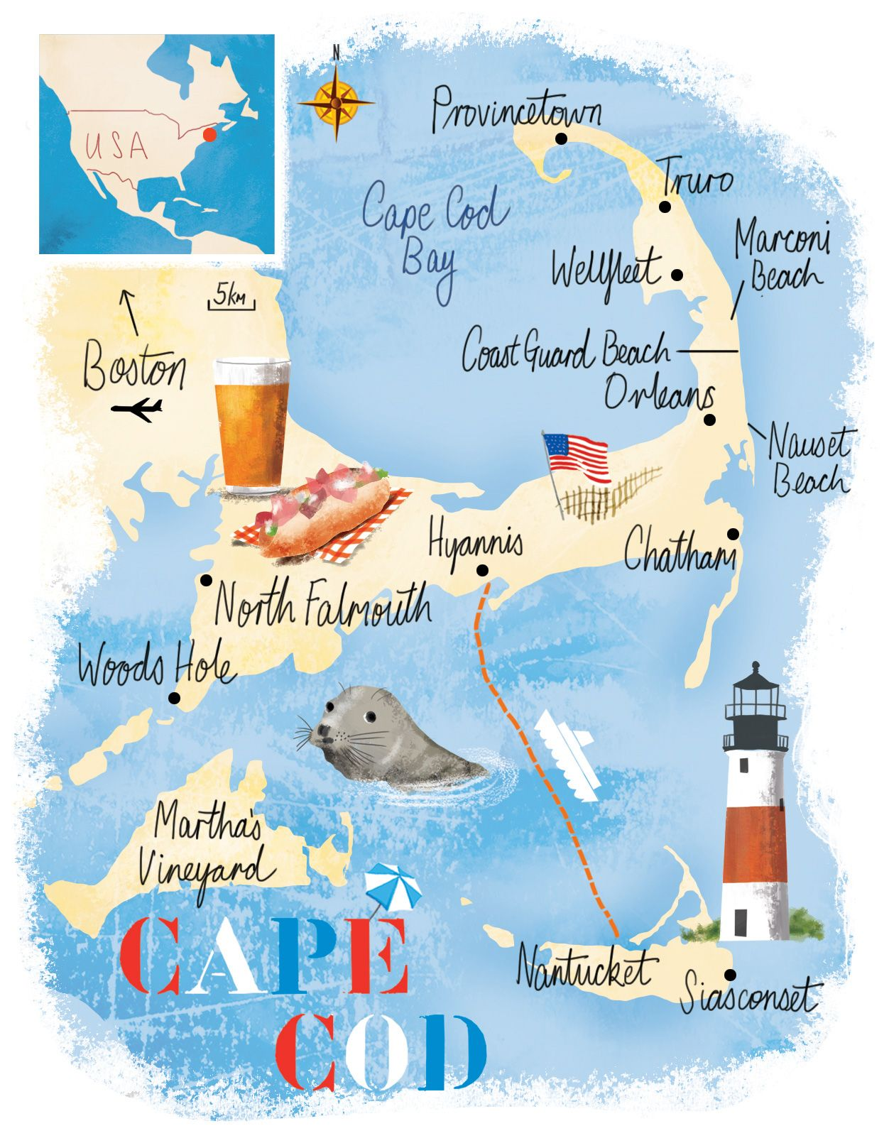 Cape Cod map by Scott Jessop | Places/trip in 2019 | Cape cod map ...