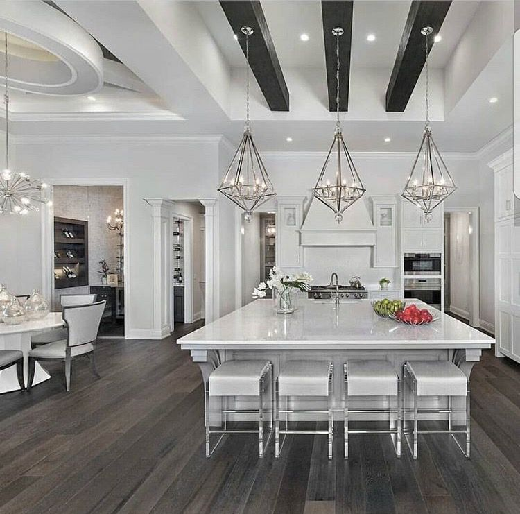 Best All White Kitchen With Black Ceiling Beams Luxury 640 x 480