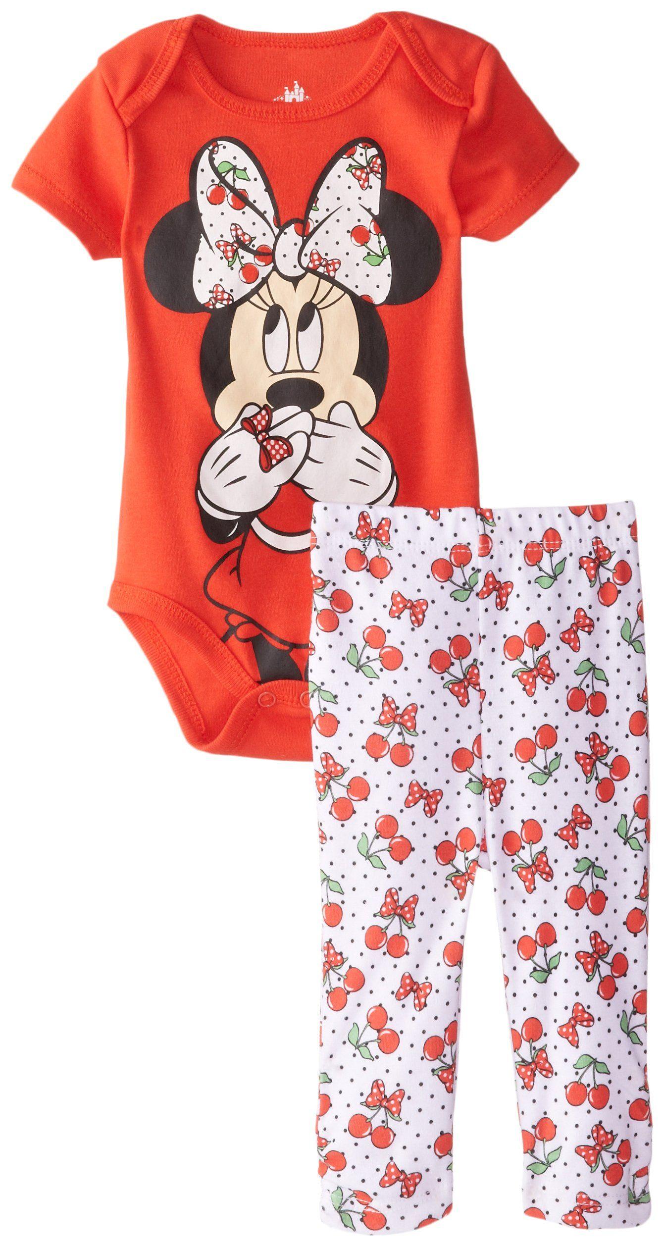 Disney Baby Baby Girls Newborn Minnie Mouse Bodysuit and Pant Set